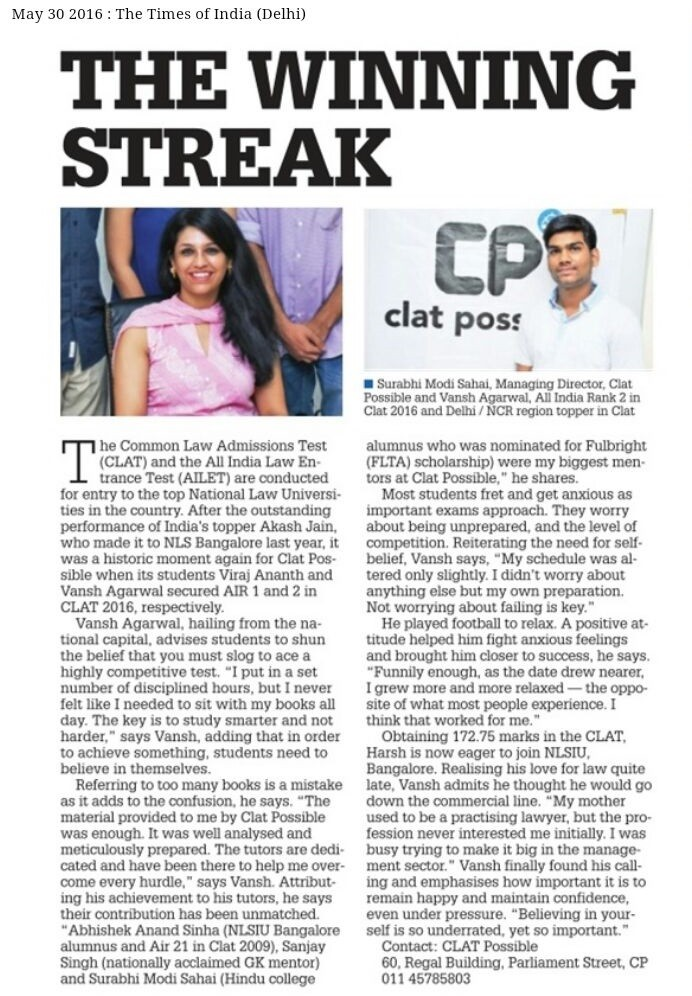 CLAT POSSIBLE IN MEDIA - THE WINNING STREAK - TOI 30-06-2016