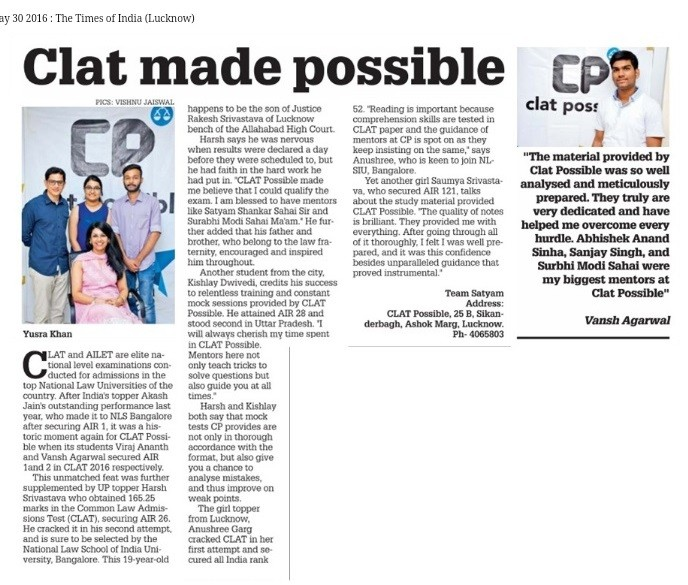 CLAT POSSIBLE IN MEDIA - CLAT MADE POSSIBLE - TOI - LUCKNOW 30-06-2016