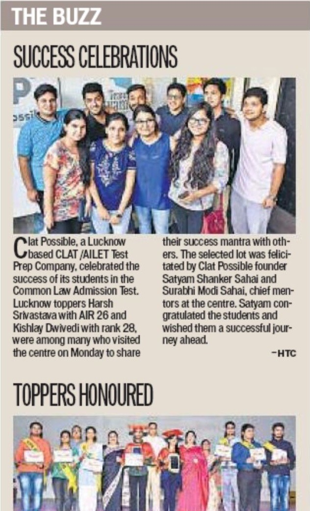CLAT POSSIBLE IN MEDIA - THE BUZZ SUCCESS CELEBRATIONS - HT 23062016
